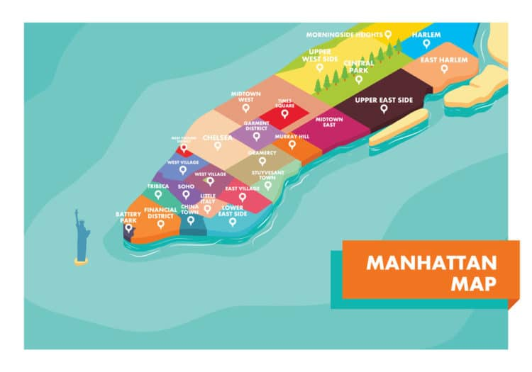 Os bairros de Manhattan