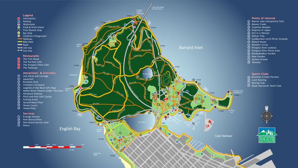 Mapa do Stanley Park em Vancouver