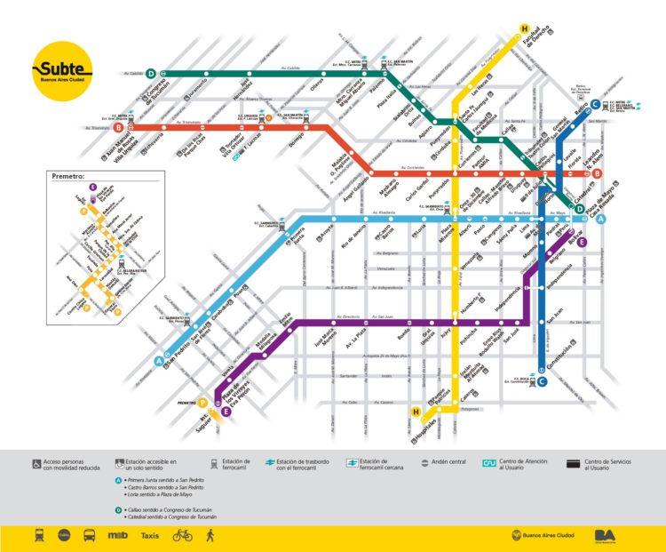 Mapa do metrô de Buenos Aires