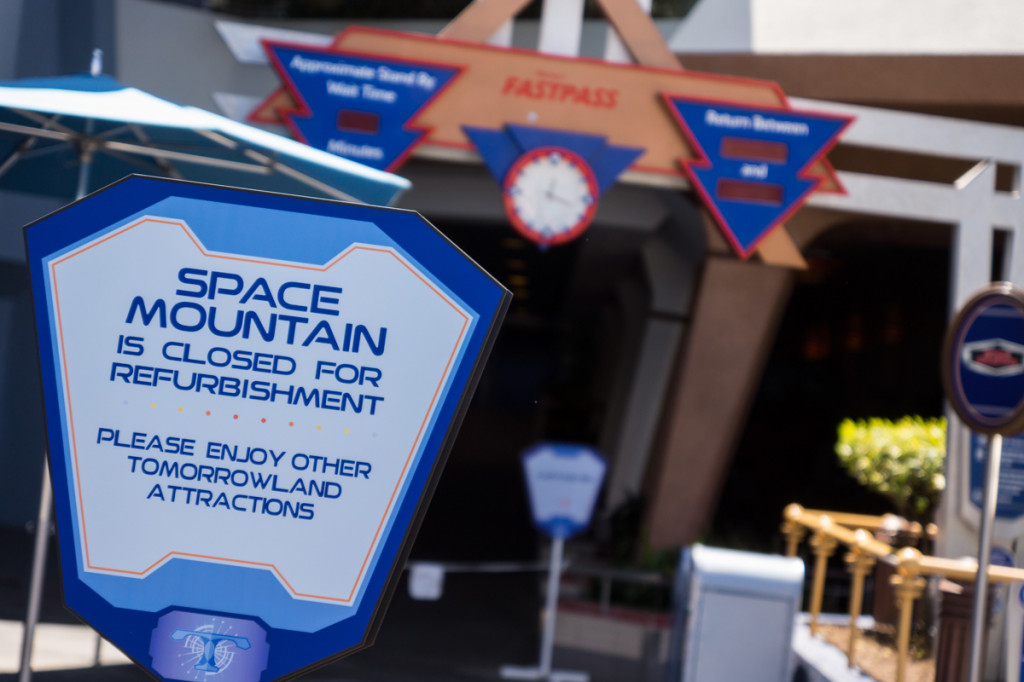 Space Mountain Closed Refurbishment sign