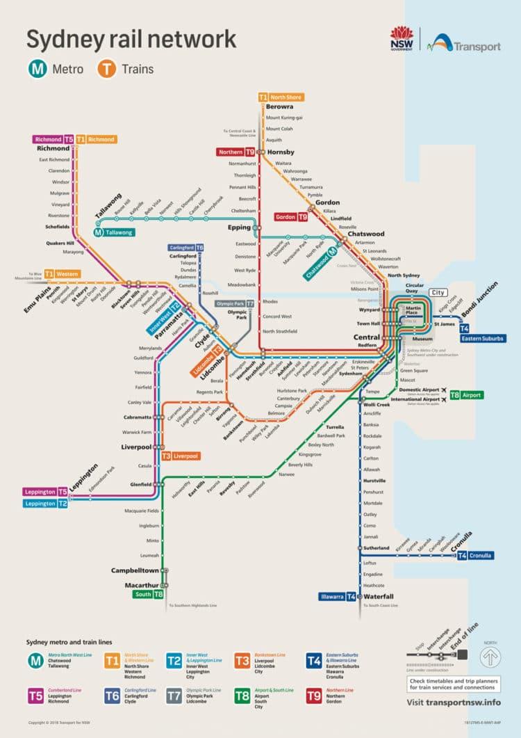 Mapa do transporte público em Sydney