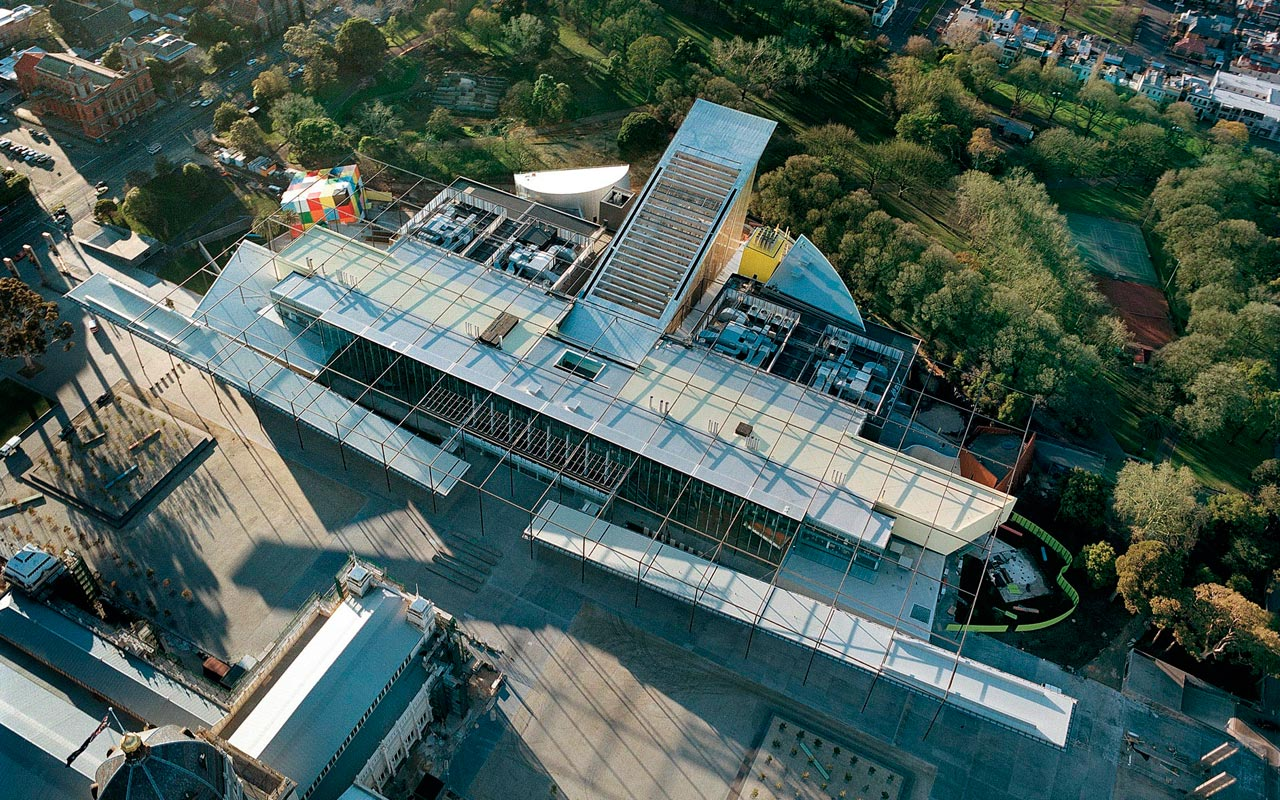 Carlton Gardens em Melbourne com cinema e museu