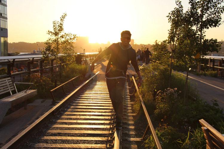 Pôr do sol no High Line de Nova York