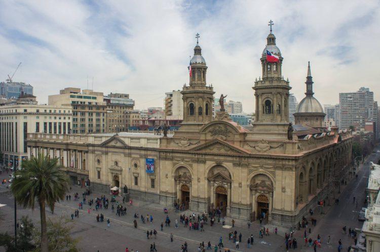 Plaza de Armas no centro de Santiago