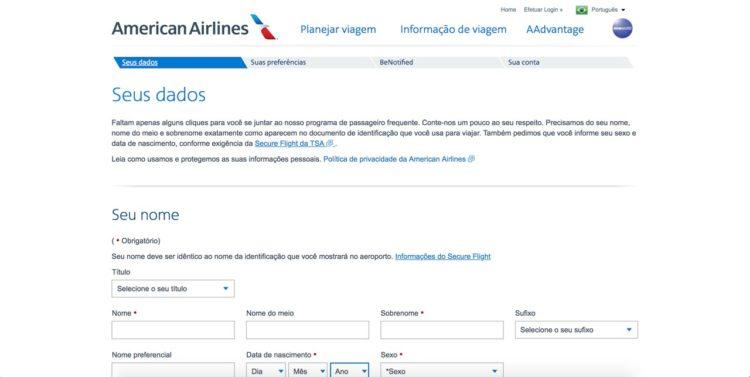 Como se cadastrar no programa de fidelidade da American Airlines