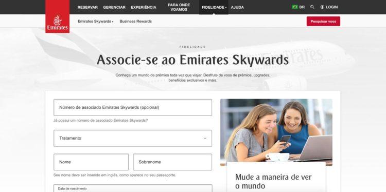 Como se cadastrar no programa de fidelidade da Emirates
